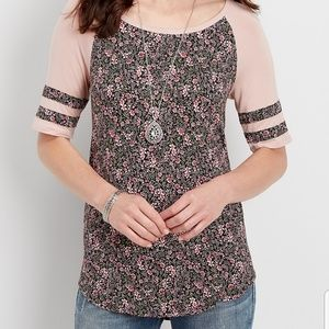 NWT MAURICES BASEBALL Floral Shirt Tee Pink  XS S